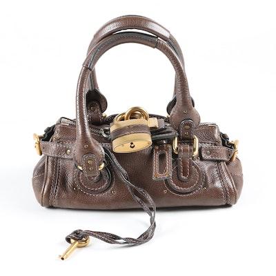Chloé Paddington Padlock Brown Pebbled Leather Mini Satchel