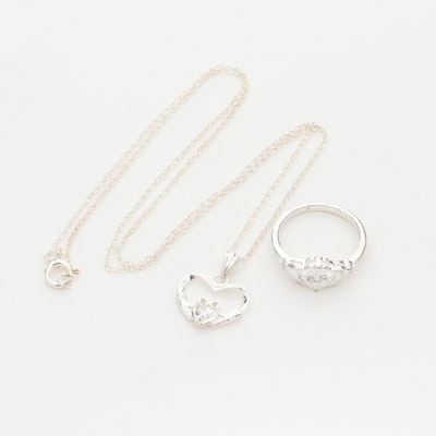 Sterling Silver Cubic Zirconia Claddagh Ring and Necklace