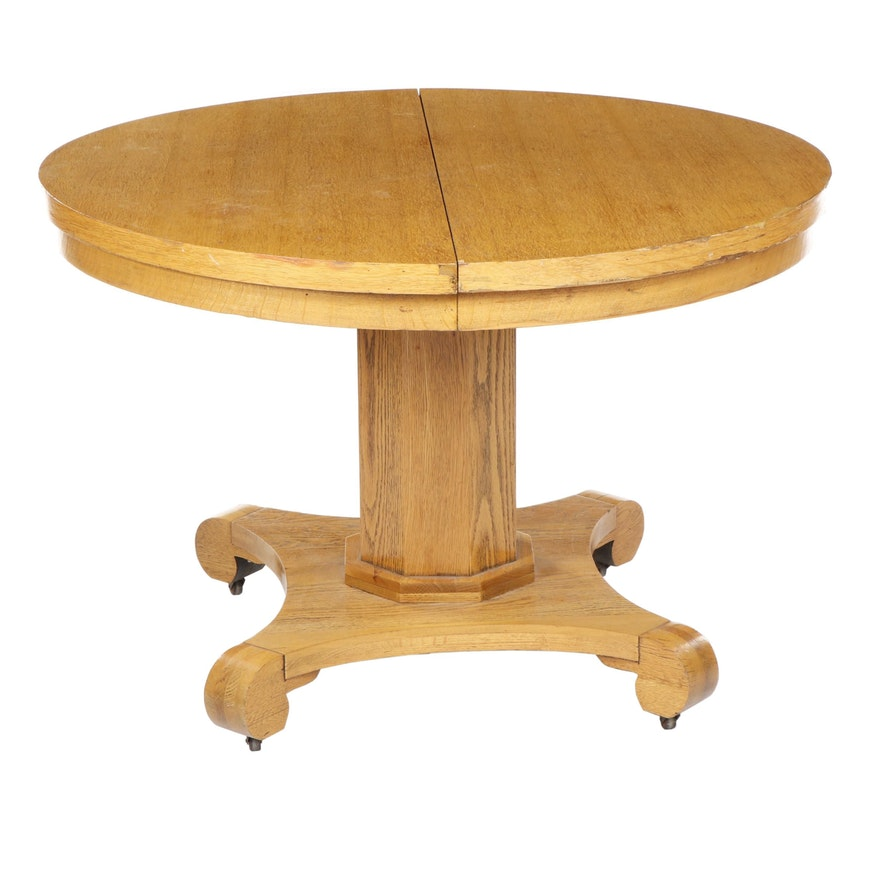 Spencer Table Company Round Oak Dining Table on Casters