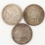 Three U.S. Silver Dollars Including 1925 Silver Peace Dollar