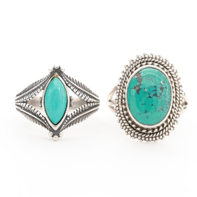 Southwestern Style Sterling Silver Stabilized Turquoise Rings