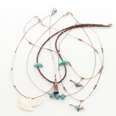 Sterling Silver Shell, Turquoise, and Coral Necklaces