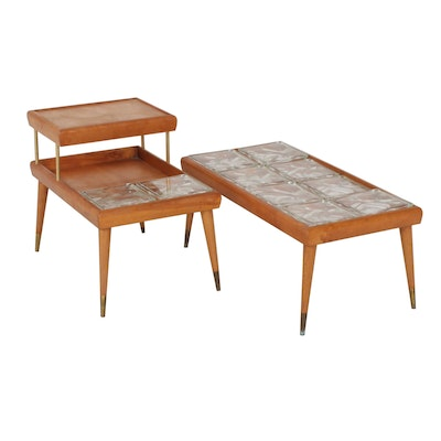Mid Century Modern Wooden End Tables with Glass Blocks, Set of 2