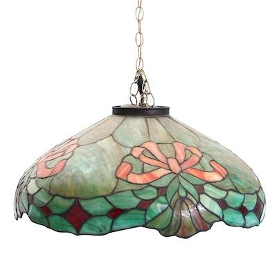 Slag Glass Hanging Pendant Light, Mid to Late 20th Century