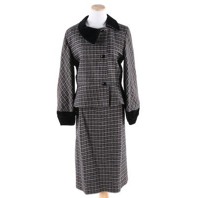 Pierre Cardin Paris Pied-de-Poule Houndstooth Wool Check and Velvet Skirt Suit