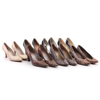 Charles Jourdan, Stuart Weitzman, and Other Leather, Suede, and Python Pumps