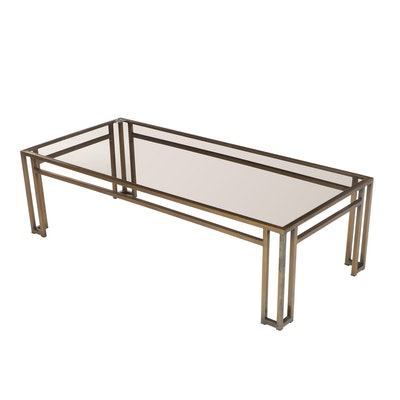 Contemporary Modern Glass Top Brass Tone Metal Coffee Table