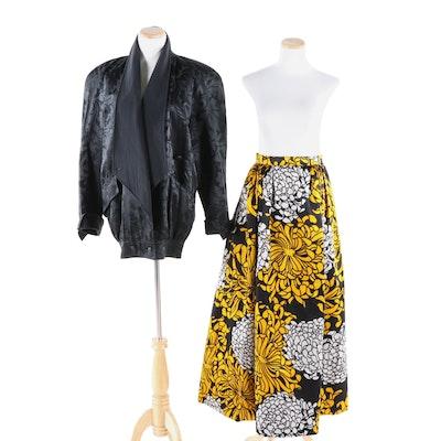 Adolfo Duchess Satin Silk Chrysanthemum Evening Skirt and Escada Black Jacket