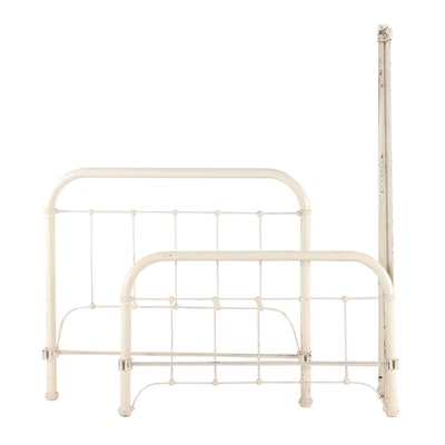 Late Victorian White-Painted Iron Bed Frame, 20th Century