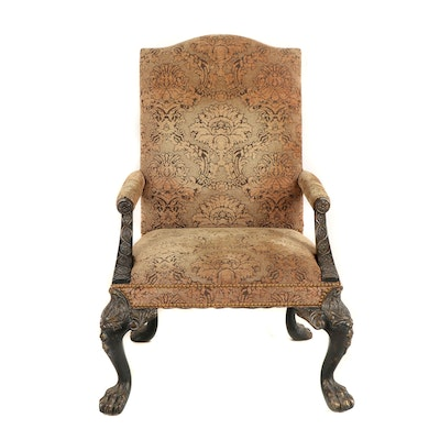 Contemporary George II Style Custom-Upholstered Library Armchair