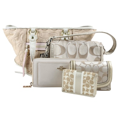 Coach Poppy Straw Tote and Signature Metallic Layla Bag Including Wallets