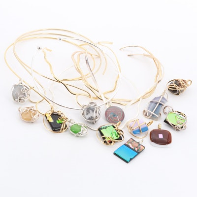 Gold and Silver Tone Marble, Enamel, and Agate Necklaces and Pendants