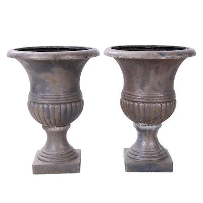 Resin Urn Planters, Pair