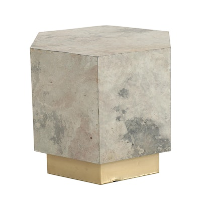 Faux Slate Accent Table with Metallic Gold Base