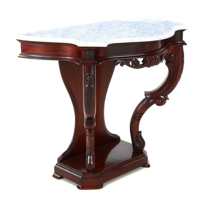 Rococo Style Mahogany Finish Marble Top Hall Table, Mid to Late 20th Century