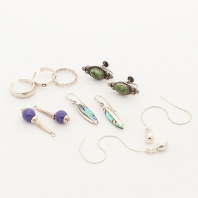 Assorted Sterling Silver Glass and Abalone Costume Jewelry Including Toe Rings