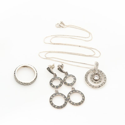 Sterling Silver Cubic Zirconia and Marcasite Ring, Earring and Necklace Set