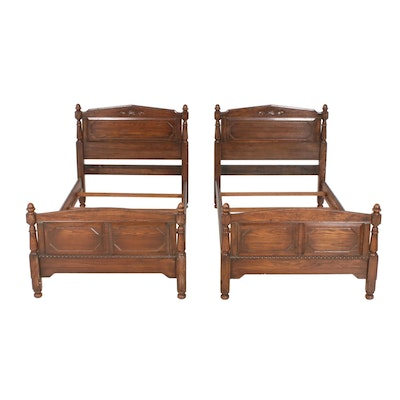Pair of Continental Style Twin Oak Bed Frames, 20th Century