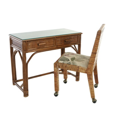 Rattan Two-Drawer Writing Table Plus Side Chair, 20th Century