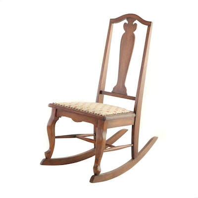 "Late Victorian Walnut-Stained Child's Rocking Chair, Stamped ""W.J. Shuck"""