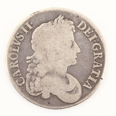 1673 Great Britain Silver Crown Coin of Charles II