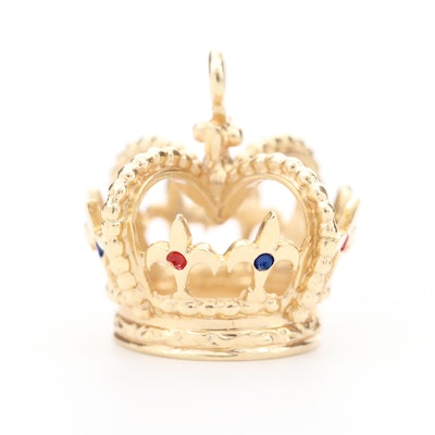 14K Yellow Gold Crown Pendant with Enameled Accents