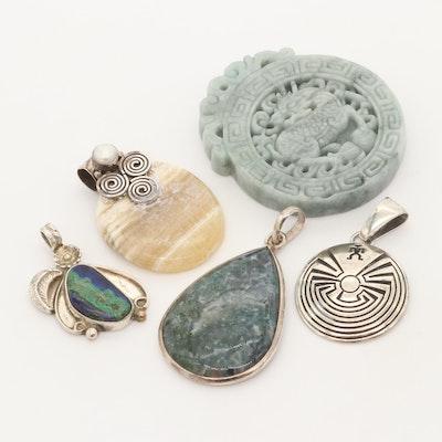 Sterling Silver Jasper, Agate, Granite, and Malachite in Lapis Lazuli Pendants