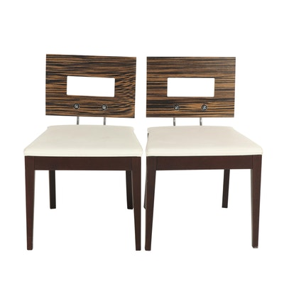 Pair of Contemporary Laminated Wood Side Chairs with Leather Upholstery