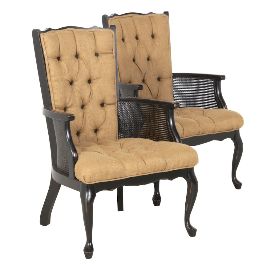 Louis XVI Style Caned Burlap Upholstered Armchairs, Late 20th Century
