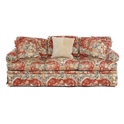 """Contemporary Baker """"Crown & Tulip Collection"""" Floral Upholstered Sofa"""