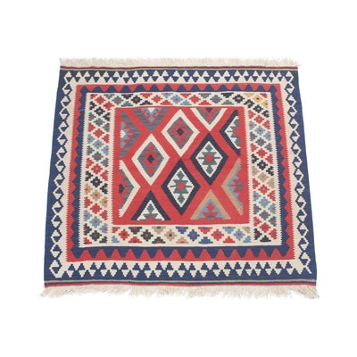 3'4 x 3'5 Handwoven Persian Shiraz Kilim Rug