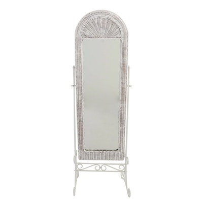 White Wicker and Scrolled Metal Cheval Mirror