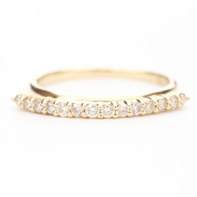 14K Yellow Gold Ring Diamond Ring with Raised Line Setting