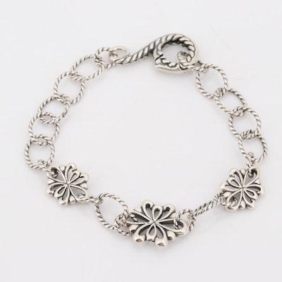 Sterling Silver Floral Link Bracelet