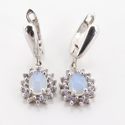 Sterling Silver Opal and Tanzanite Earrings