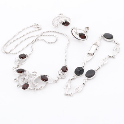 Van Dell Sterling Silver Black Onyx and Glass Necklace, Earrings and Bracelet