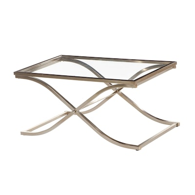 Contemporary Metal Frame Glass Top Coffee Table
