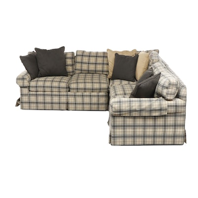 Lee Industries Tartan Upholstered Sectional Sofa, Late 20th Century