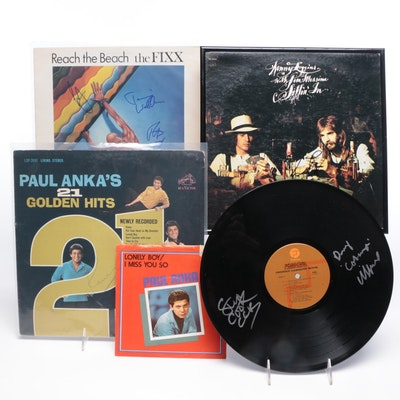 Musicians and Rock Groups Signed Album Covers/Record, 1960s-1980s