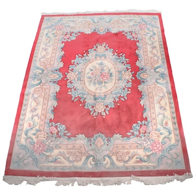 Power-Loomed Chinese Aubusson Style Carved Wool Room Sized Rug