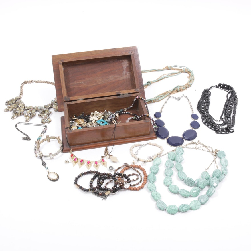 Costume Jewelry Assortment with Wood Jewelry Box