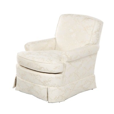 Contemporary Baker White Upholstered Armchair with Floral Embroidery
