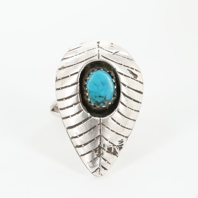 Southwestern Style Sterling Silver Turquoise Shadow Box Ring