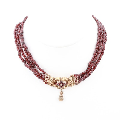 Vintage 14K Yellow Gold Garnet and Seed Pearl Multi-Strand Necklace