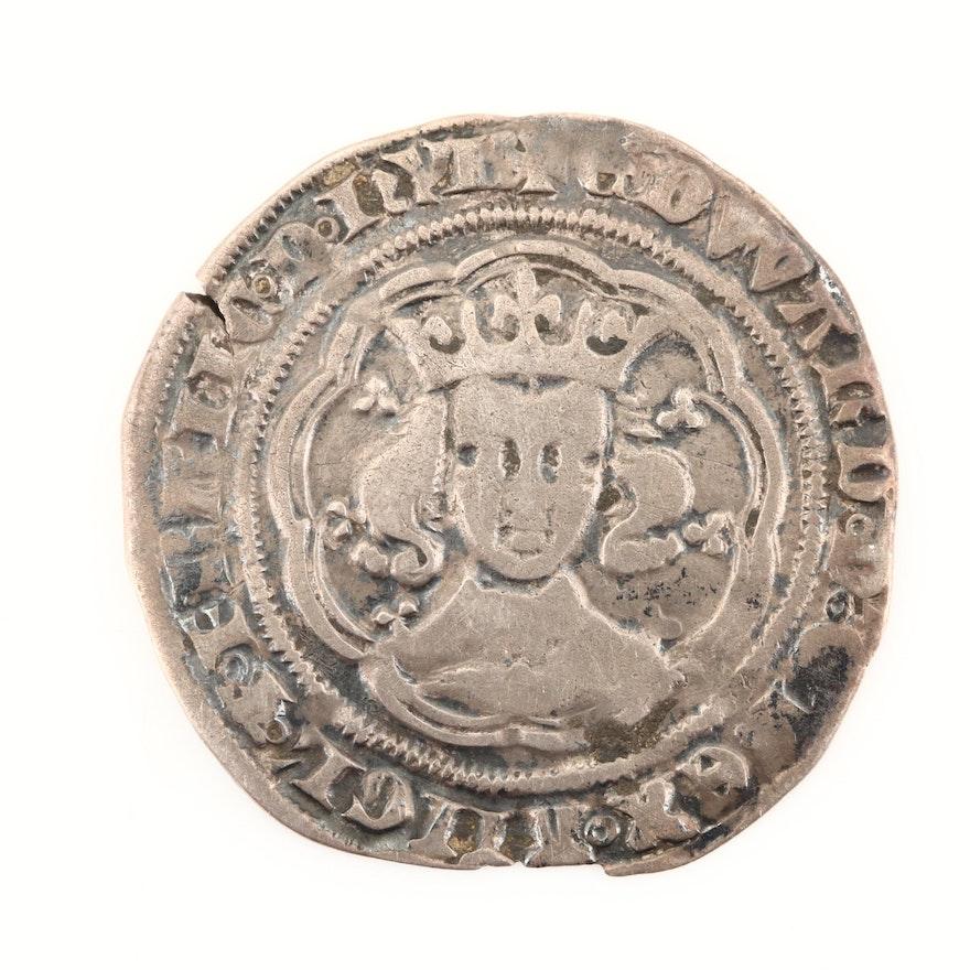 English Hammered King Edward III AR Groat, London Mint, ca. 1354