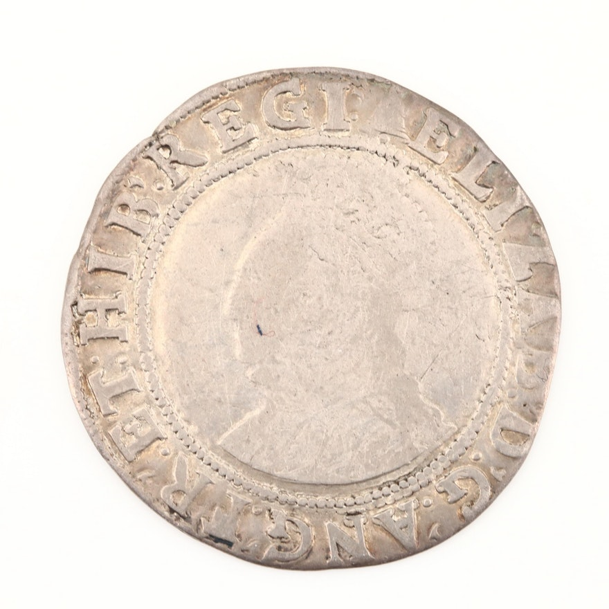 English Hammered Queen Elizabeth I AR Shilling, ca. 1582, Tower Mint, 5th Issue