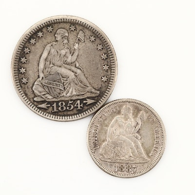 Liberty Seated Silver Quarter and a Liberty Seated Silver Dime