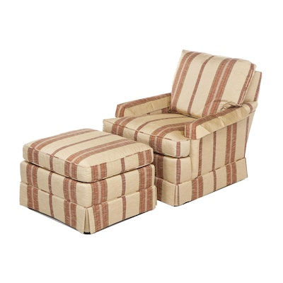 Baker Stripe Upholstered Armchair with Ottoman, Late 20th Century