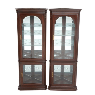 Pair of Contemporary Colonial Style Mahogany Finished Corner Curio Cabinets