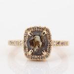 14K Yellow Gold 1.41 CT Alexandrite and Diamond Halo Ring